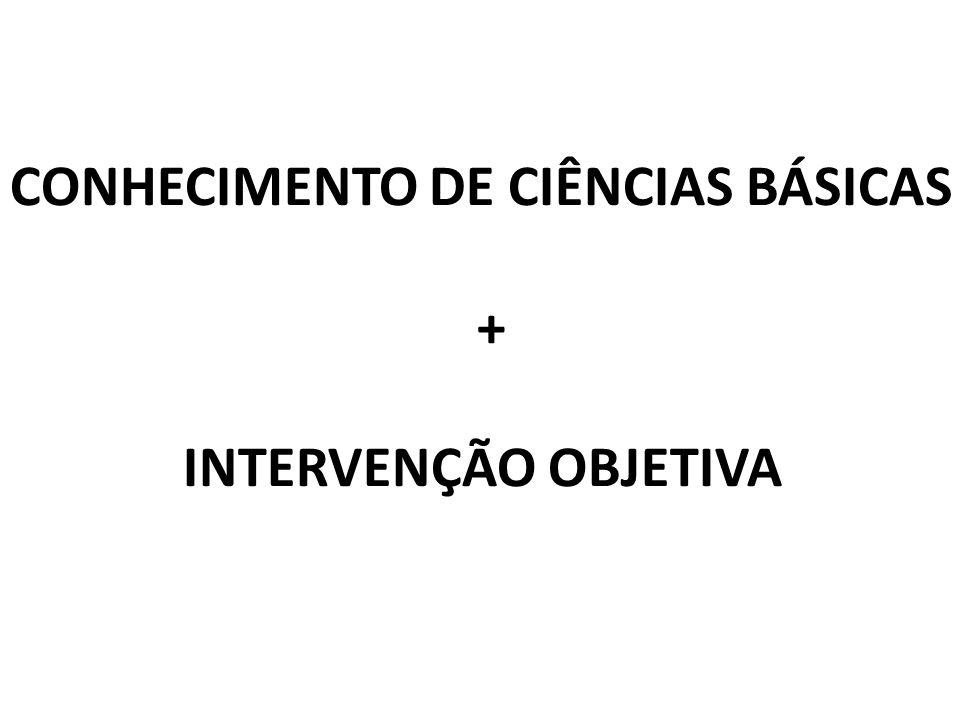 CONHECIMENTO DE CIÊNCIAS BÁSICAS + INTERVENÇÃO OBJETIVA