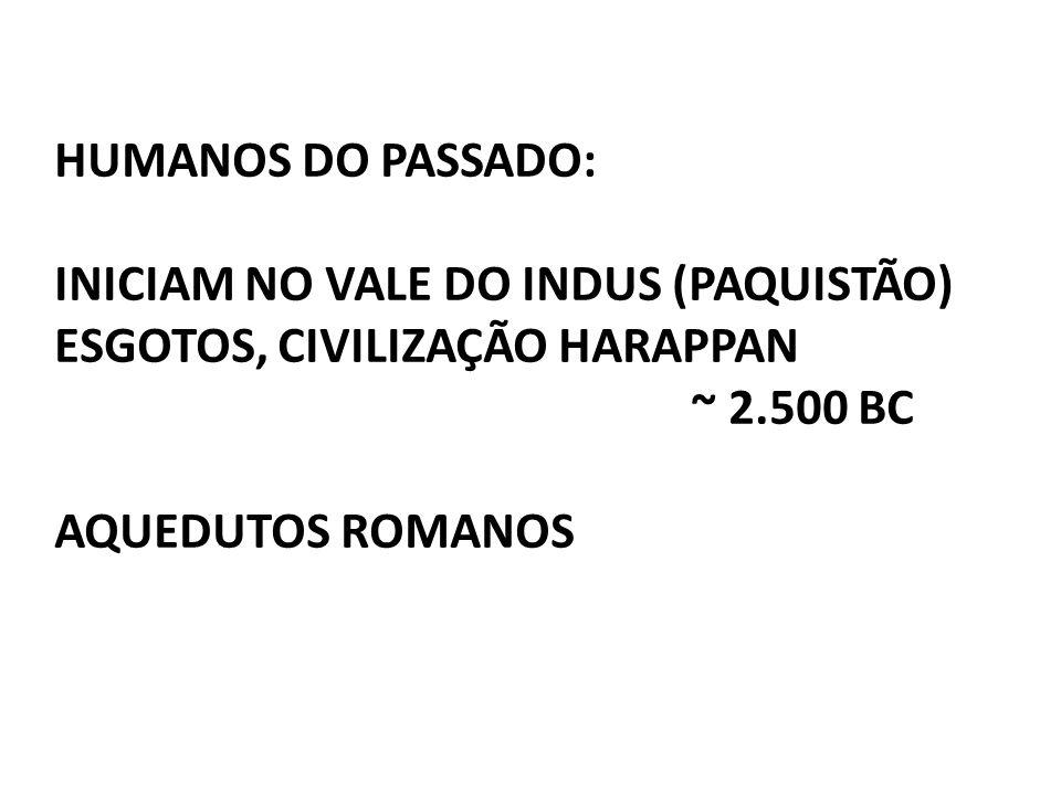 HUMANOS DO PASSADO: INICIAM NO VALE DO INDUS (PAQUISTÃO) ESGOTOS, CIVILIZAÇÃO HARAPPAN ~ 2.500 BC AQUEDUTOS ROMANOS