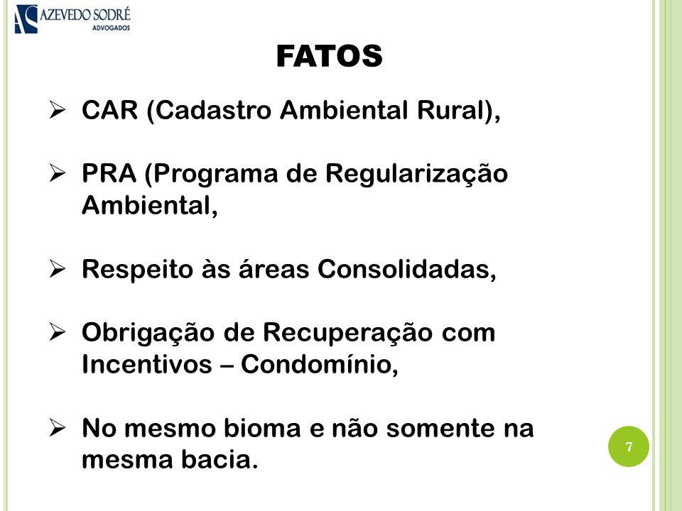 FATOS 7  CAR (Cadastro Ambiental Rural),  PRA (Programa de Regularização Ambiental,  Respeito às áreas Consolidadas,  Obrigação de Recuperação com Incentivos – Condomínio,  No mesmo bioma e não somente na mesma bacia.