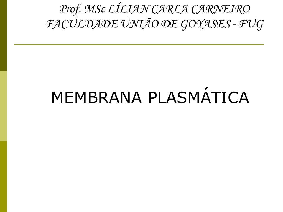 Prof. MSc LÍLIAN CARLA CARNEIRO FACULDADE UNIÃO DE GOYASES - FUG MEMBRANA PLASMÁTICA