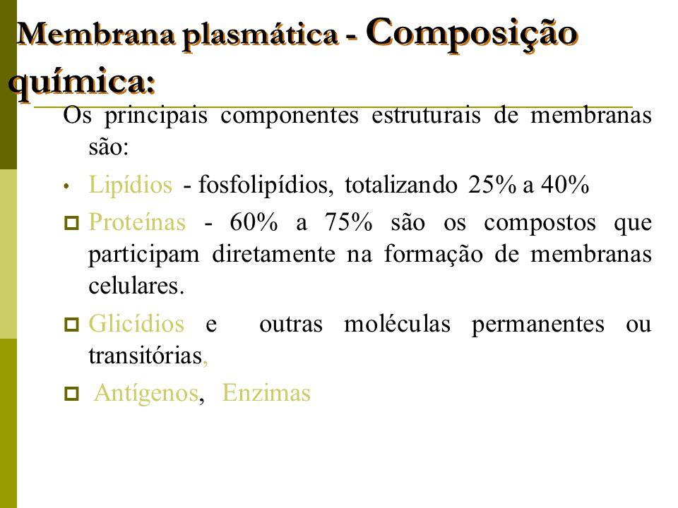 Membrana plasmática - Composição química : Os principais componentes estruturais de membranas são: • Lipídios - fosfolipídios, totalizando 25% a 40%  Proteínas - 60% a 75% são os compostos que participam diretamente na formação de membranas celulares.