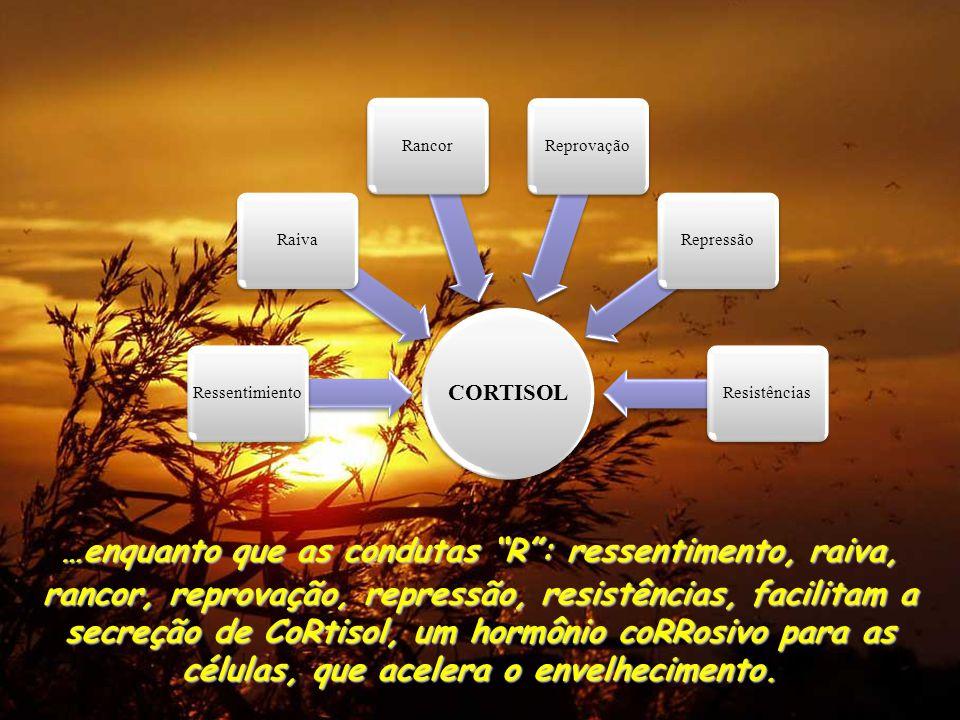 …enquanto que as condutas R : ressentimento, raiva, rancor, reprovação, repressão, resistências, facilitam a secreção de CoRtisol, um hormônio coRRosivo para as células, que acelera o envelhecimento.