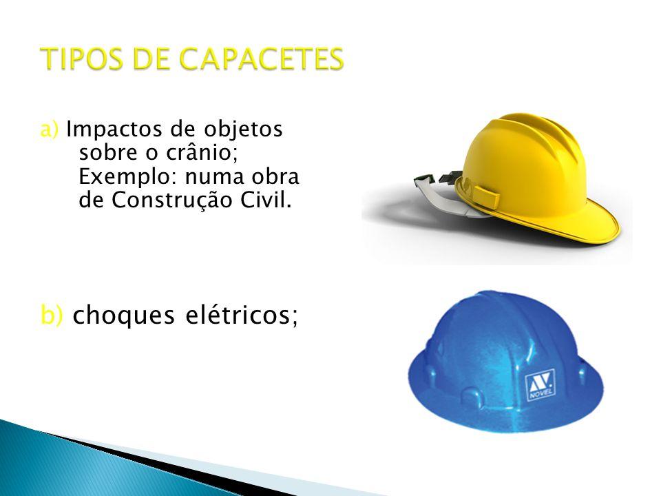a) Impactos de objetos sobre o crânio; Exemplo: numa obra de Construção Civil.
