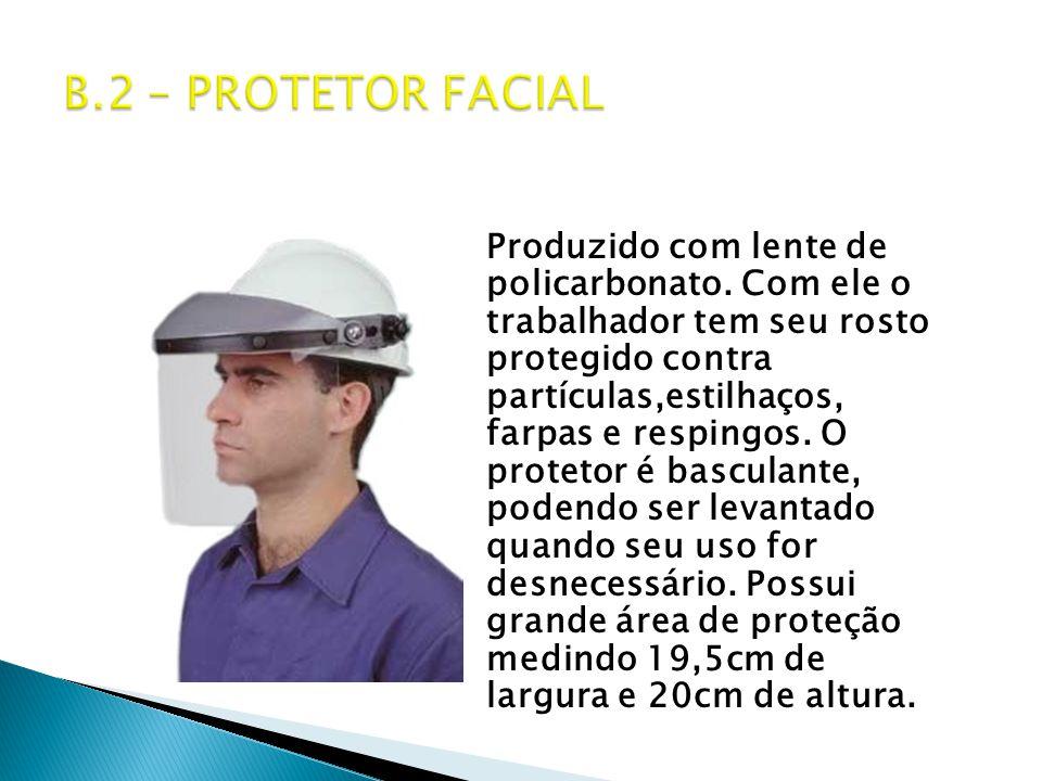 Produzido com lente de policarbonato.