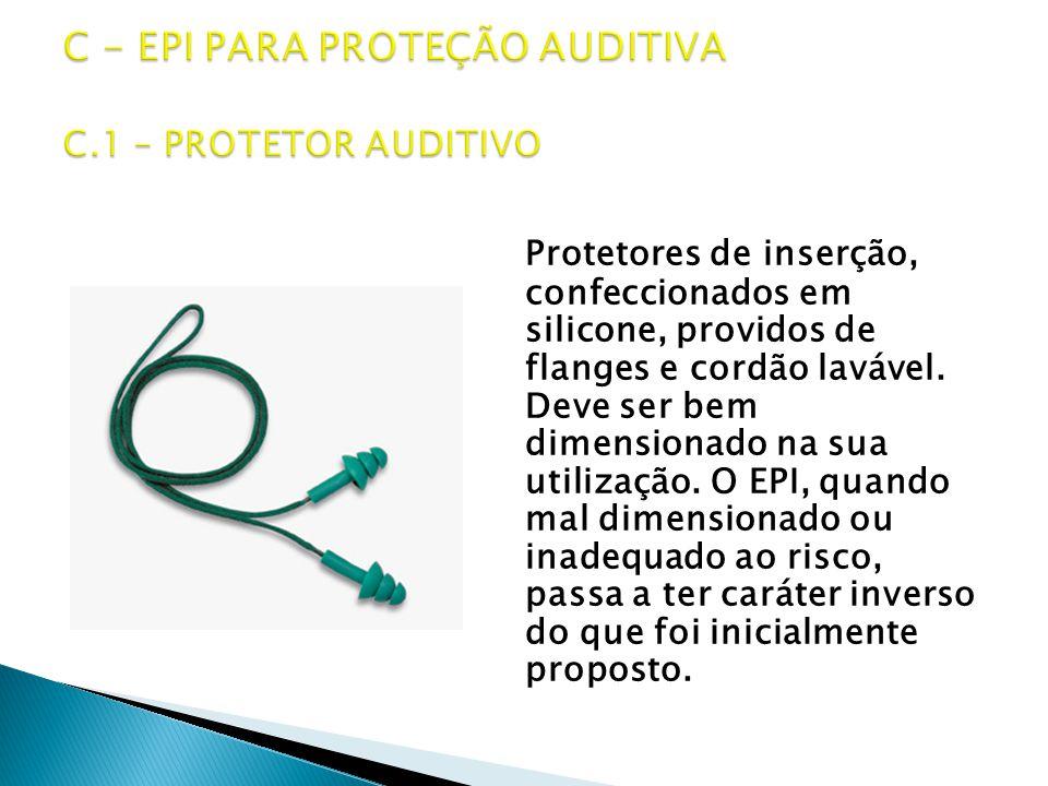 Protetores de inserção, confeccionados em silicone, providos de flanges e cordão lavável.