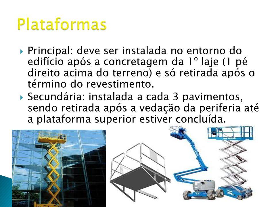  Principal: deve ser instalada no entorno do edifício após a concretagem da 1º laje (1 pé direito acima do terreno) e só retirada após o término do revestimento.
