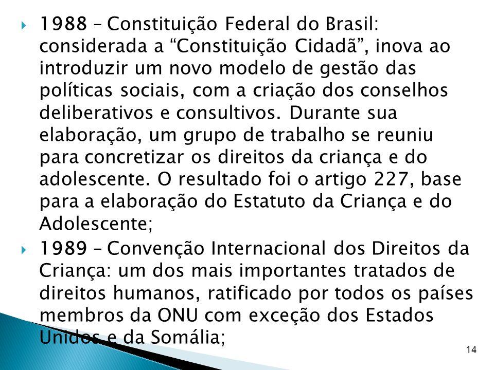 """14  1988 – Constituição Federal do Brasil: considerada a """"Constituição Cidadã"""", inova ao introduzir um novo modelo de gestão das políticas sociais, c"""