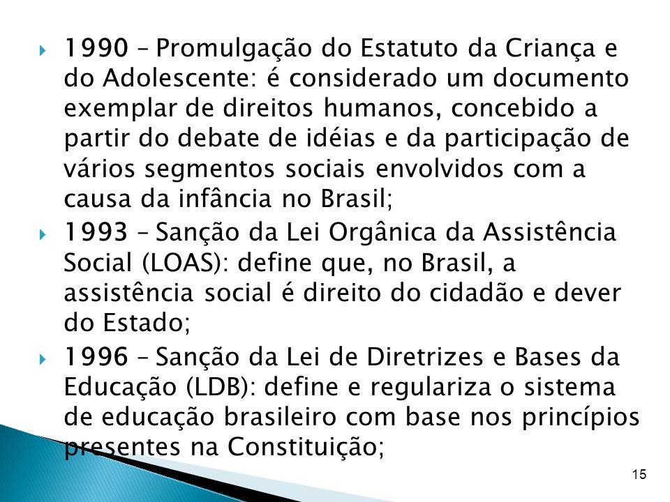 15  1990 – Promulgação do Estatuto da Criança e do Adolescente: é considerado um documento exemplar de direitos humanos, concebido a partir do debate