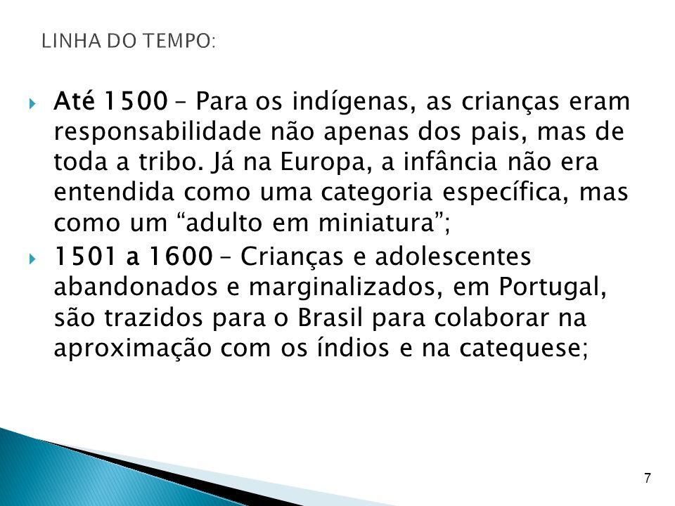 8  1601 a 1700 – Período em que a categoria de infância se consolida, porém ainda em condição de inferioridade e de submissão em relação aos adultos;  1701 a 1800 – Surgimento das primeiras escolas no Brasil, criadas como espaços de ordem e homogeneização das crianças da elite.