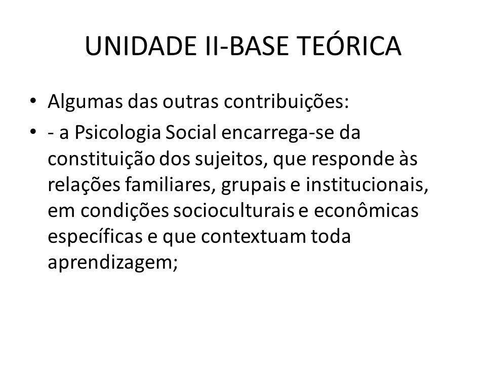 UNIDADE II-BASE TEÓRICA • - a Epistemologia e a Psicologia Genética se encarregam de analisar e descrever o processo construtivo do conhecimento pelo sujeito em interação com os outros e com os objetos;