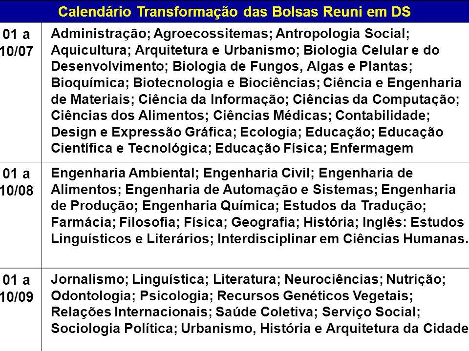 Calendário Transformação das Bolsas Reuni em DS 01 a 10/07 Administração; Agroecossitemas; Antropologia Social; Aquicultura; Arquitetura e Urbanismo;