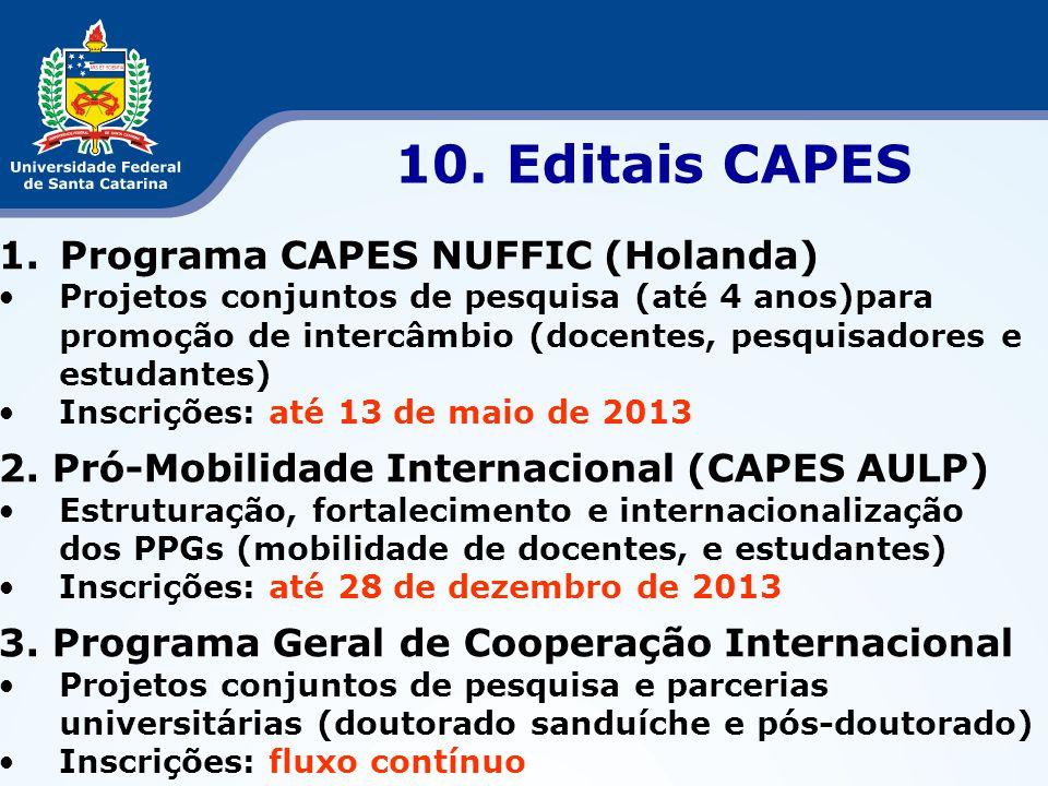 1.Programa CAPES NUFFIC (Holanda) •Projetos conjuntos de pesquisa (até 4 anos)para promoção de intercâmbio (docentes, pesquisadores e estudantes) •Ins