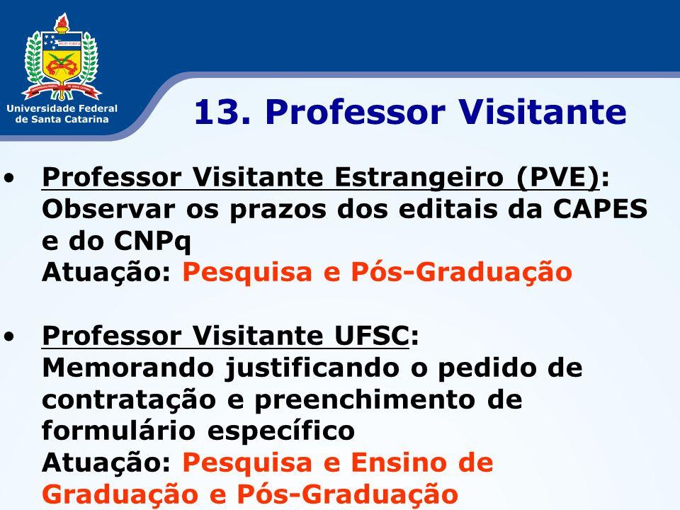 •Professor Visitante Estrangeiro (PVE): Observar os prazos dos editais da CAPES e do CNPq Atuação: Pesquisa e Pós-Graduação •Professor Visitante UFSC: