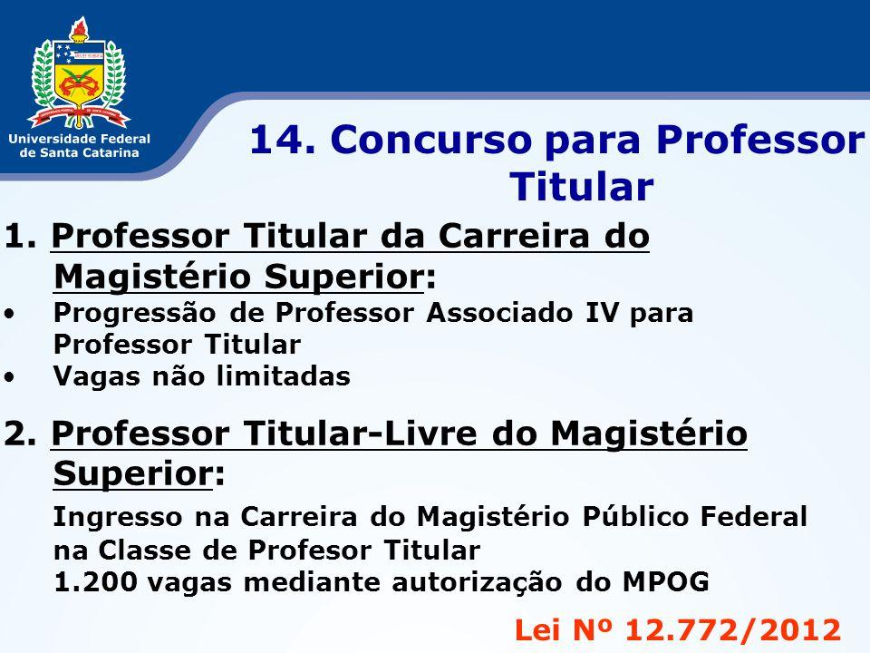 Lei Nº 12.772/2012 14. Concurso para Professor Titular 1. Professor Titular da Carreira do Magistério Superior: •Progressão de Professor Associado IV