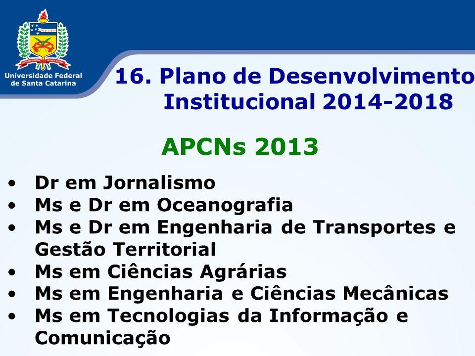 APCNs 2013 •Dr em Jornalismo •Ms e Dr em Oceanografia •Ms e Dr em Engenharia de Transportes e Gestão Territorial •Ms em Ciências Agrárias •Ms em Engen