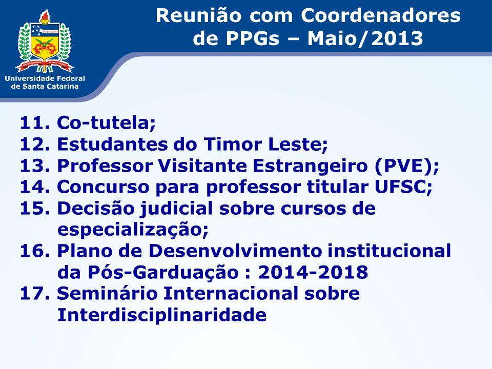 11. Co-tutela; 12. Estudantes do Timor Leste; 13. Professor Visitante Estrangeiro (PVE); 14. Concurso para professor titular UFSC; 15. Decisão judicia