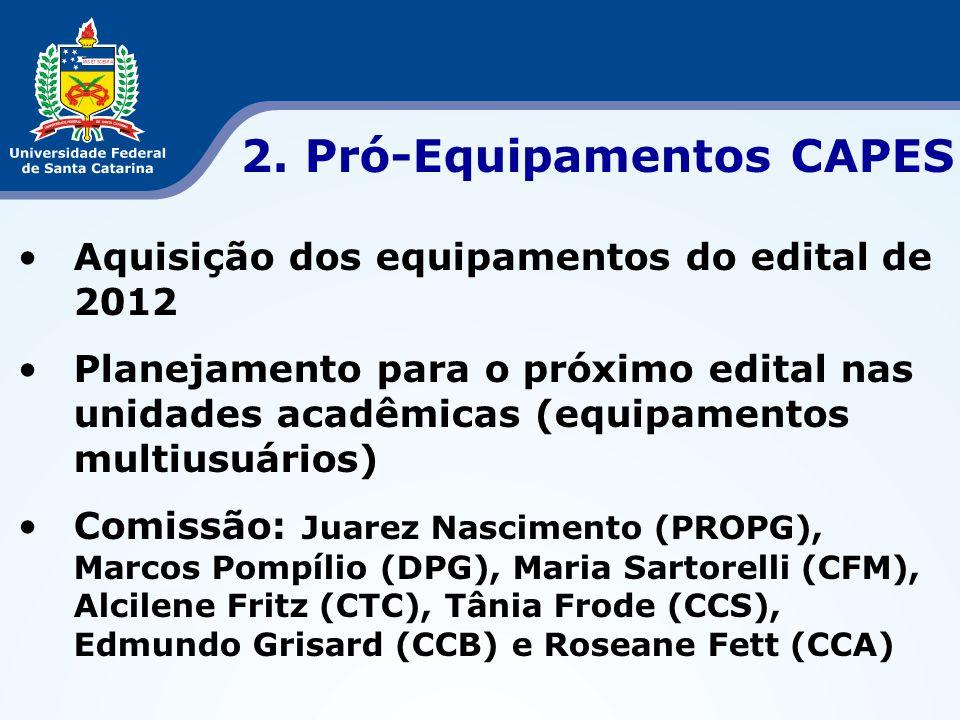 •Aquisição dos equipamentos do edital de 2012 •Planejamento para o próximo edital nas unidades acadêmicas (equipamentos multiusuários) •Comissão: Juar