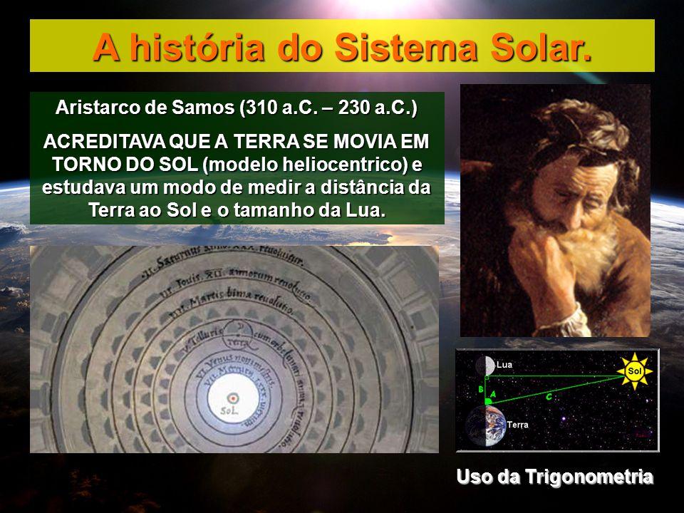 Aristarco de Samos (310 a.C. – 230 a.C.) ACREDITAVA QUE A TERRA SE MOVIA EM TORNO DO SOL (modelo heliocentrico) e estudava um modo de medir a distânci
