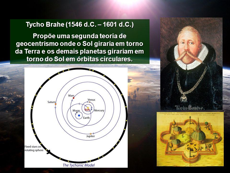 Tycho Brahe (1546 d.C. – 1601 d.C.) Propõe uma segunda teoria de geocentrismo onde o Sol giraria em torno da Terra e os demais planetas girariam em to