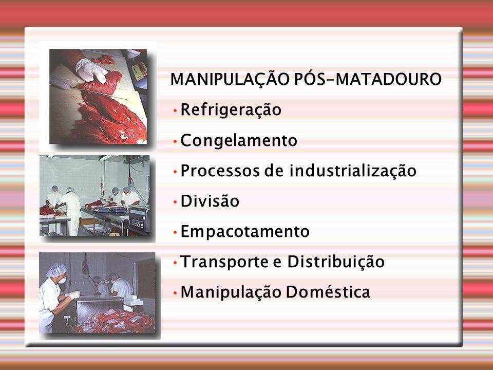 MANIPULAÇÃO PÓS-MATADOURO •Refrigeração •Congelamento •Processos de industrialização •Divisão •Empacotamento •Transporte e Distribuição •Manipulação D
