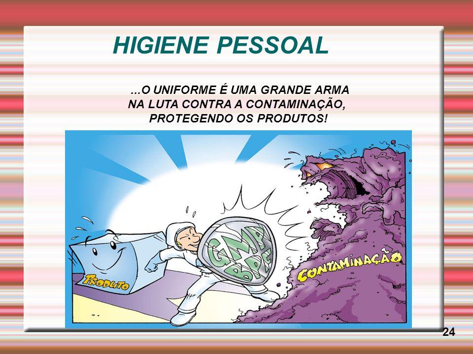 HIGIENE PESSOAL 24...O UNIFORME É UMA GRANDE ARMA NA LUTA CONTRA A CONTAMINAÇÃO, PROTEGENDO OS PRODUTOS!