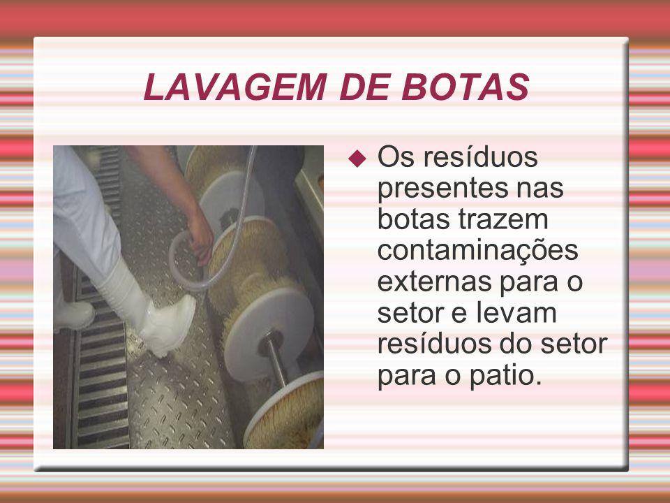 LAVAGEM DE BOTAS  Os resíduos presentes nas botas trazem contaminações externas para o setor e levam resíduos do setor para o patio.