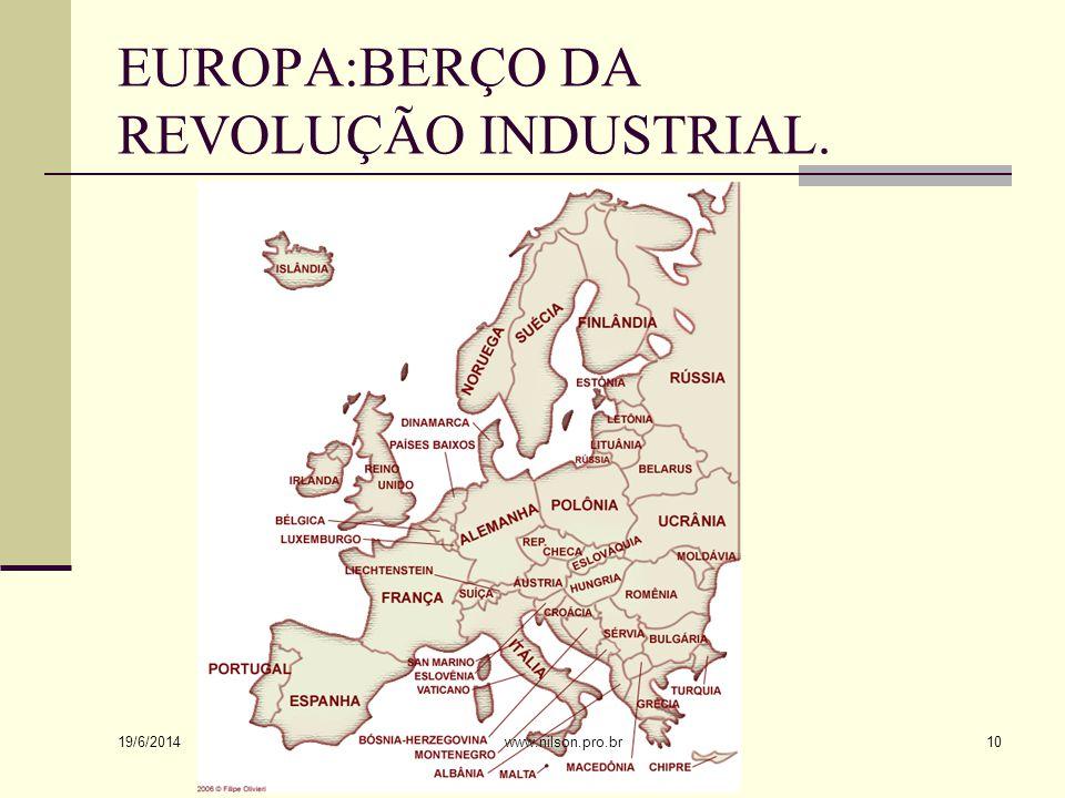 EUROPA:BERÇO DA REVOLUÇÃO INDUSTRIAL. 19/6/2014 10www.nilson.pro.br