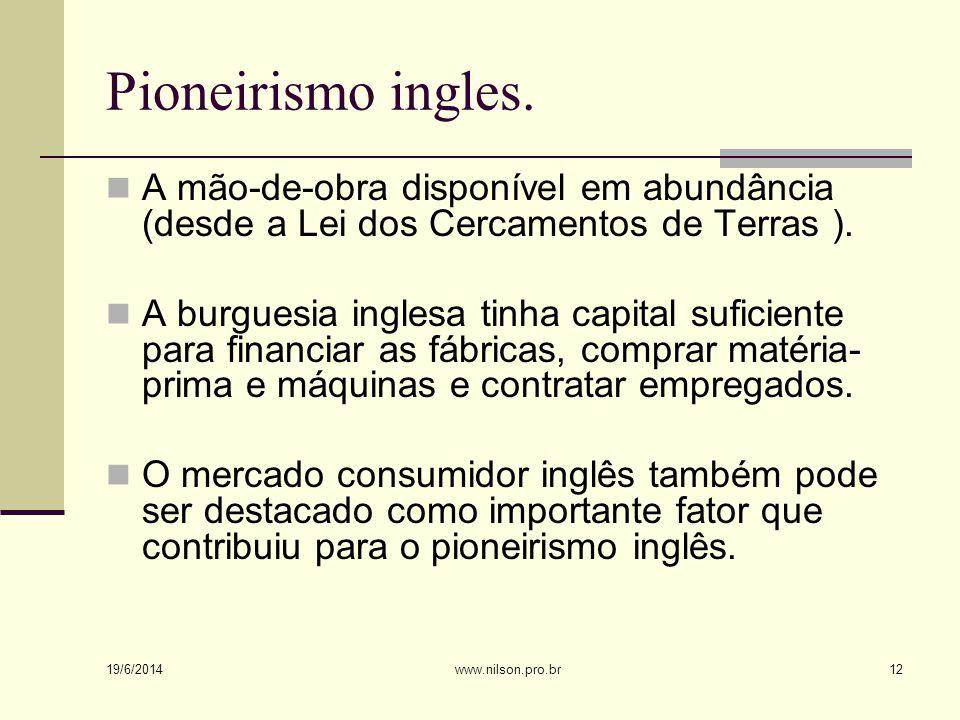 Pioneirismo ingles.  A mão-de-obra disponível em abundância (desde a Lei dos Cercamentos de Terras ).  A burguesia inglesa tinha capital suficiente