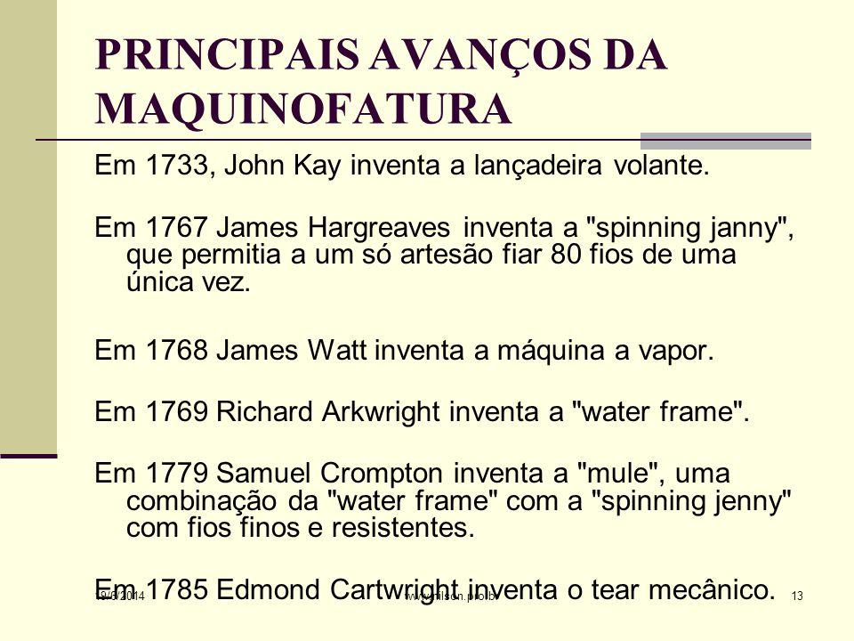PRINCIPAIS AVANÇOS DA MAQUINOFATURA Em 1733, John Kay inventa a lançadeira volante.