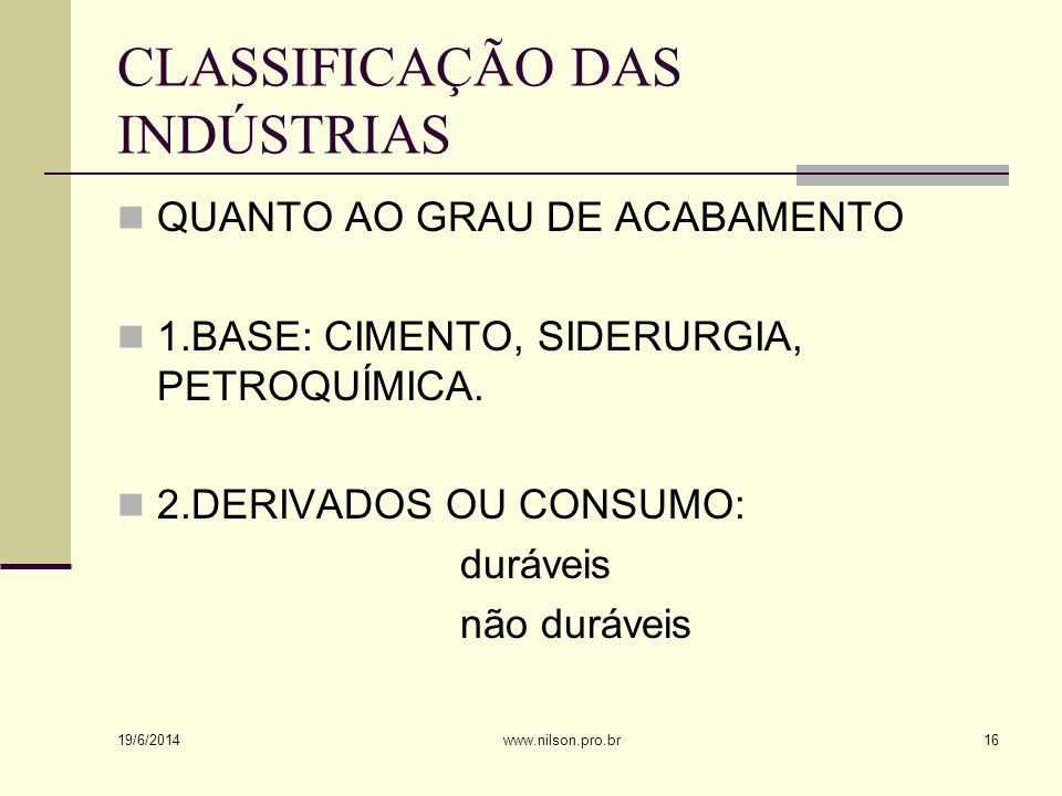 CLASSIFICAÇÃO DAS INDÚSTRIAS  QUANTO AO GRAU DE ACABAMENTO  1.BASE: CIMENTO, SIDERURGIA, PETROQUÍMICA.
