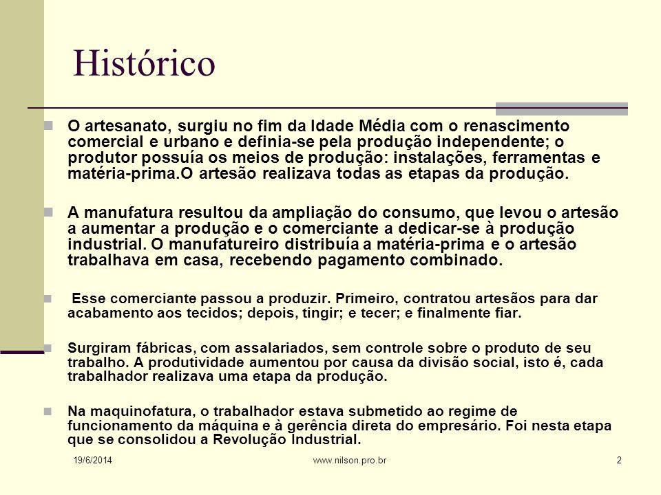Histórico  O artesanato, surgiu no fim da Idade Média com o renascimento comercial e urbano e definia-se pela produção independente; o produtor possuía os meios de produção: instalações, ferramentas e matéria-prima.O artesão realizava todas as etapas da produção.