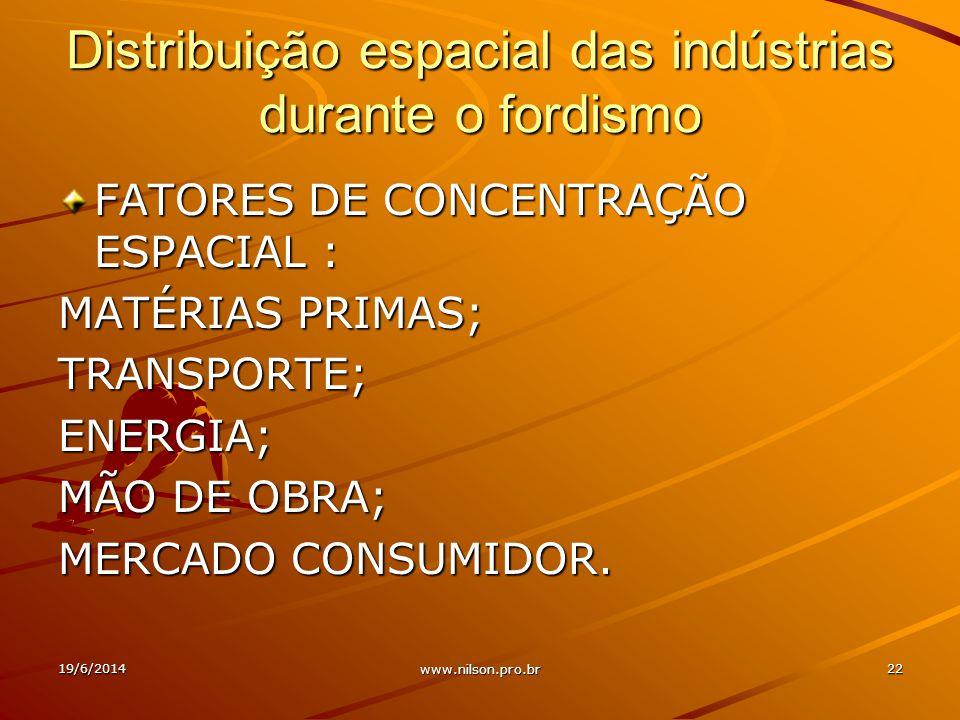 Distribuição espacial das indústrias durante o fordismo FATORES DE CONCENTRAÇÃO ESPACIAL : MATÉRIAS PRIMAS; TRANSPORTE;ENERGIA; MÃO DE OBRA; MERCADO CONSUMIDOR.