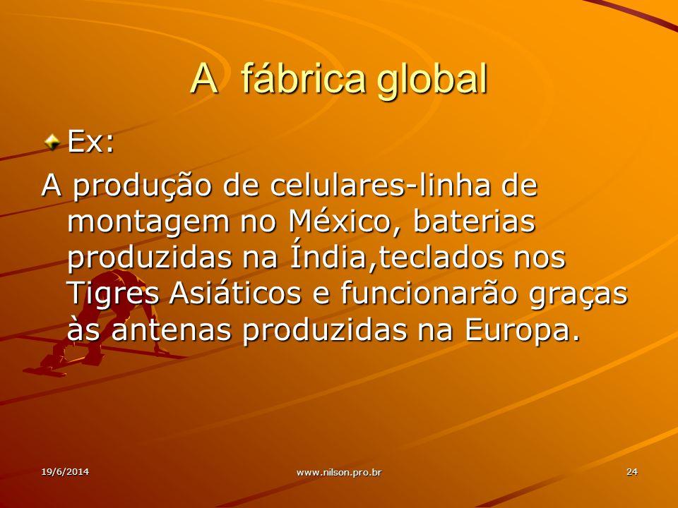 A fábrica global Ex: A produção de celulares-linha de montagem no México, baterias produzidas na Índia,teclados nos Tigres Asiáticos e funcionarão graças às antenas produzidas na Europa.