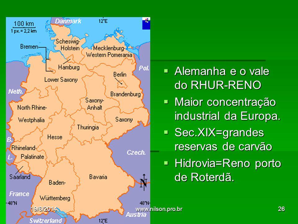  Alemanha e o vale do RHUR-RENO  Maior concentração industrial da Europa.  Sec.XIX=grandes reservas de carvão  Hidrovia=Reno porto de Roterdã. 19/