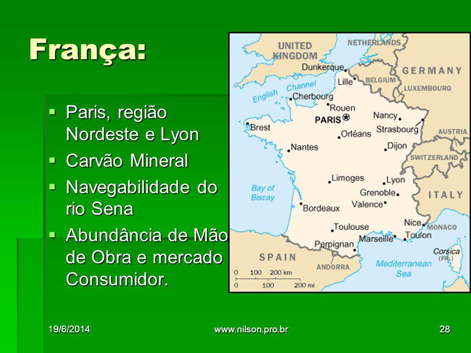 França:  Paris, região Nordeste e Lyon  Carvão Mineral  Navegabilidade do rio Sena  Abundância de Mão de Obra e mercado Consumidor.