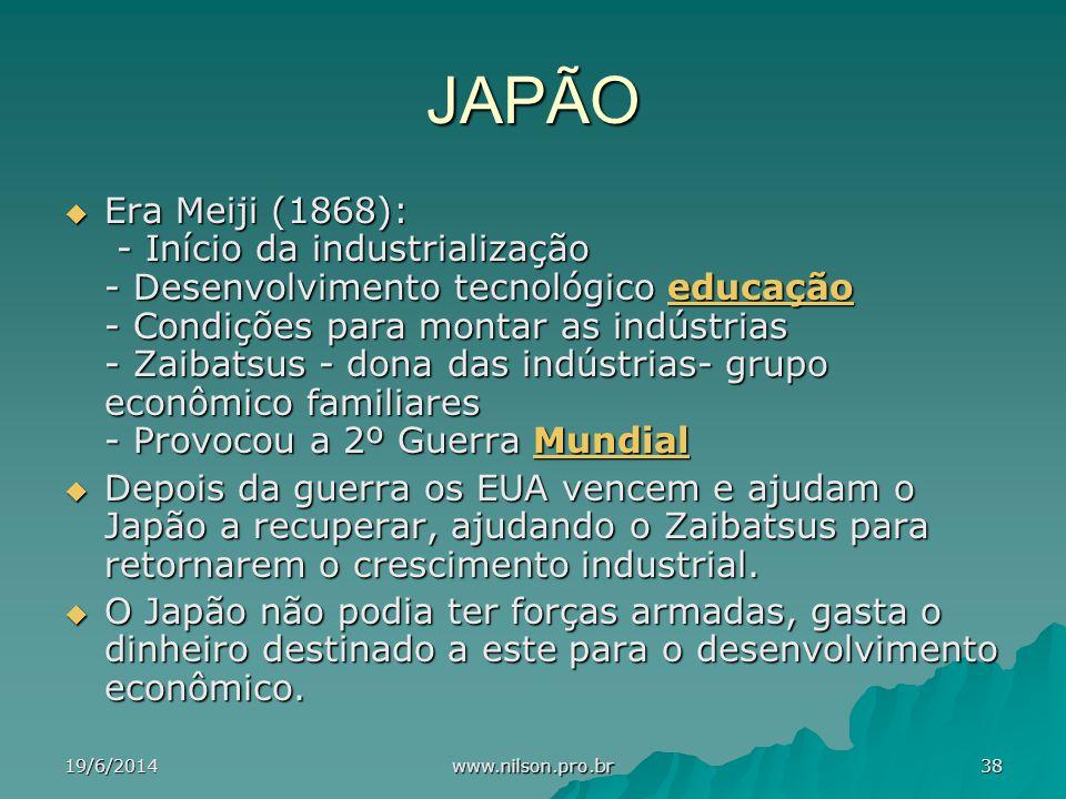 JAPÃO  Era Meiji (1868): - Início da industrialização - Desenvolvimento tecnológico educação - Condições para montar as indústrias - Zaibatsus - dona das indústrias- grupo econômico familiares - Provocou a 2º Guerra Mundial educaçãoMundialeducaçãoMundial  Depois da guerra os EUA vencem e ajudam o Japão a recuperar, ajudando o Zaibatsus para retornarem o crescimento industrial.