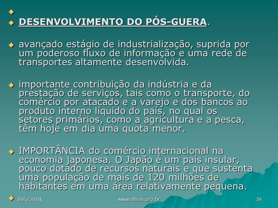   DESENVOLVIMENTO DO PÓS-GUERA.  avançado estágio de industrialização, suprida por um poderoso fluxo de informação e uma rede de transportes altame