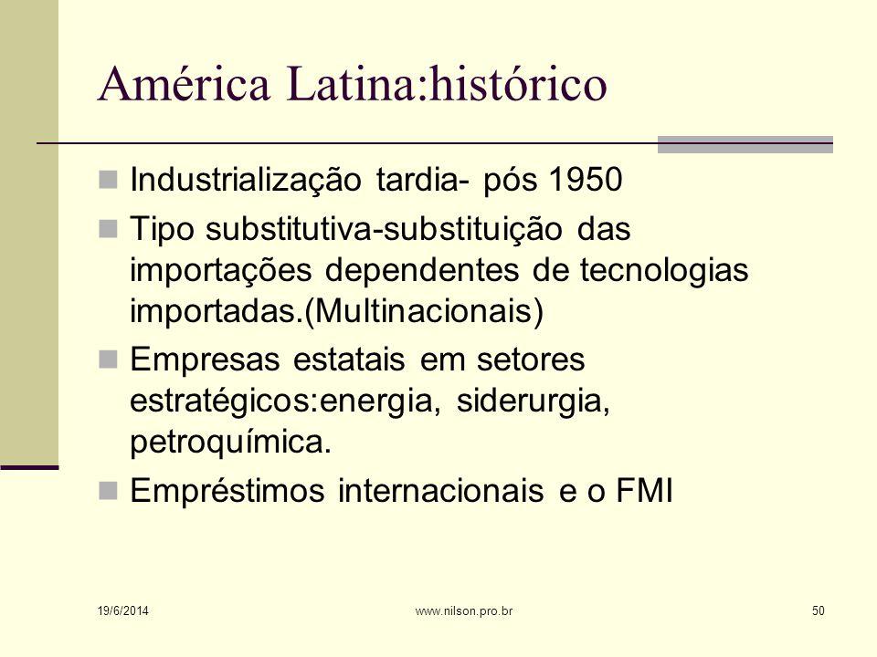 América Latina:histórico  Industrialização tardia- pós 1950  Tipo substitutiva-substituição das importações dependentes de tecnologias importadas.(Multinacionais)  Empresas estatais em setores estratégicos:energia, siderurgia, petroquímica.