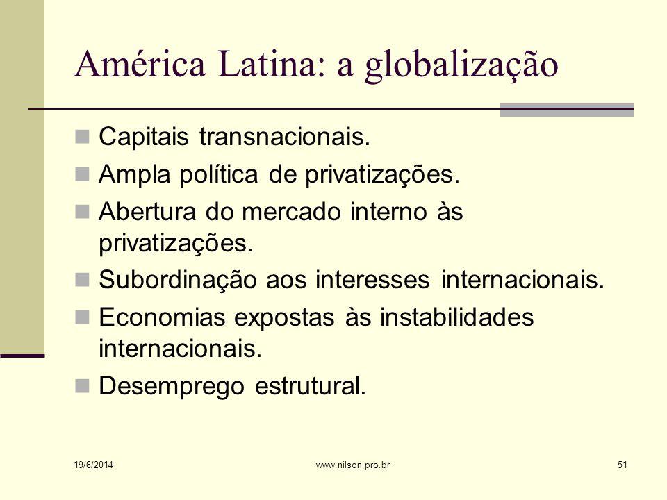 América Latina: a globalização  Capitais transnacionais.  Ampla política de privatizações.  Abertura do mercado interno às privatizações.  Subordi
