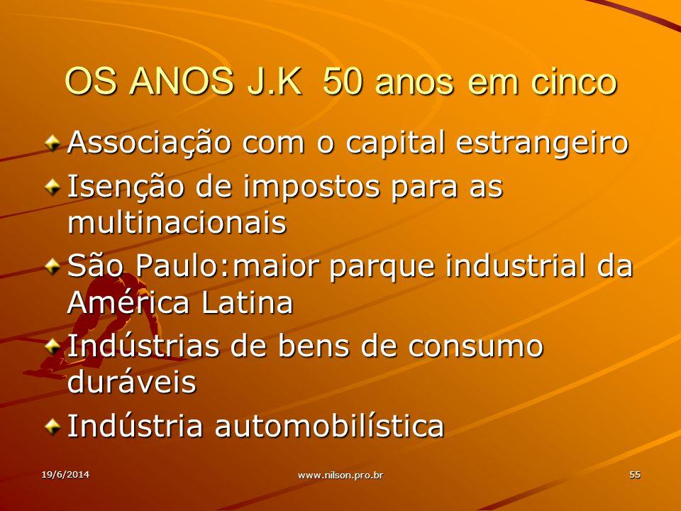 OS ANOS J.K 50 anos em cinco Associação com o capital estrangeiro Isenção de impostos para as multinacionais São Paulo:maior parque industrial da América Latina Indústrias de bens de consumo duráveis Indústria automobilística 19/6/201455 www.nilson.pro.br
