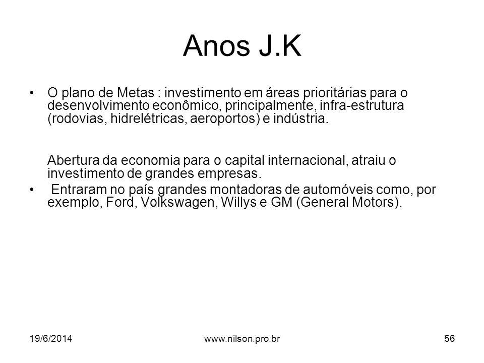 Anos J.K •O plano de Metas : investimento em áreas prioritárias para o desenvolvimento econômico, principalmente, infra-estrutura (rodovias, hidrelétricas, aeroportos) e indústria.