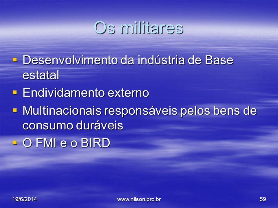 Os militares  Desenvolvimento da indústria de Base estatal  Endividamento externo  Multinacionais responsáveis pelos bens de consumo duráveis  O FMI e o BIRD 19/6/201459www.nilson.pro.br