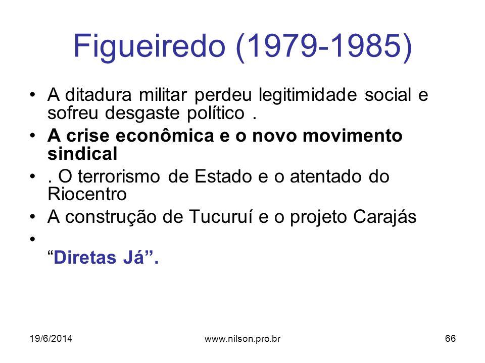 Figueiredo (1979-1985) •A ditadura militar perdeu legitimidade social e sofreu desgaste político. •A crise econômica e o novo movimento sindical •. O