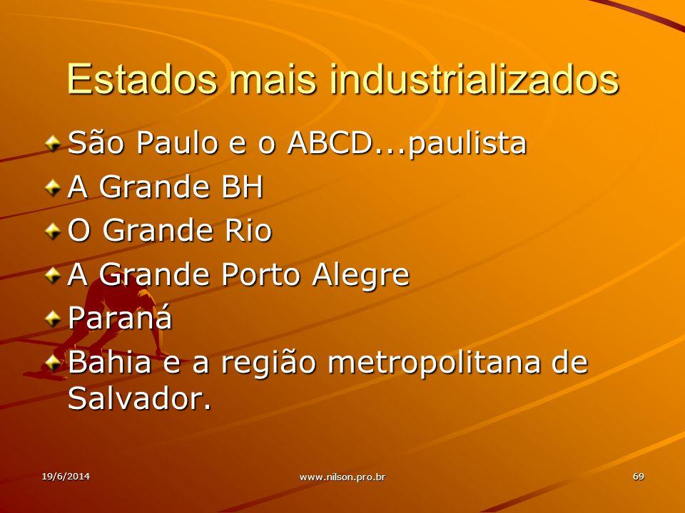 Estados mais industrializados São Paulo e o ABCD...paulista A Grande BH O Grande Rio A Grande Porto Alegre Paraná Bahia e a região metropolitana de Sa
