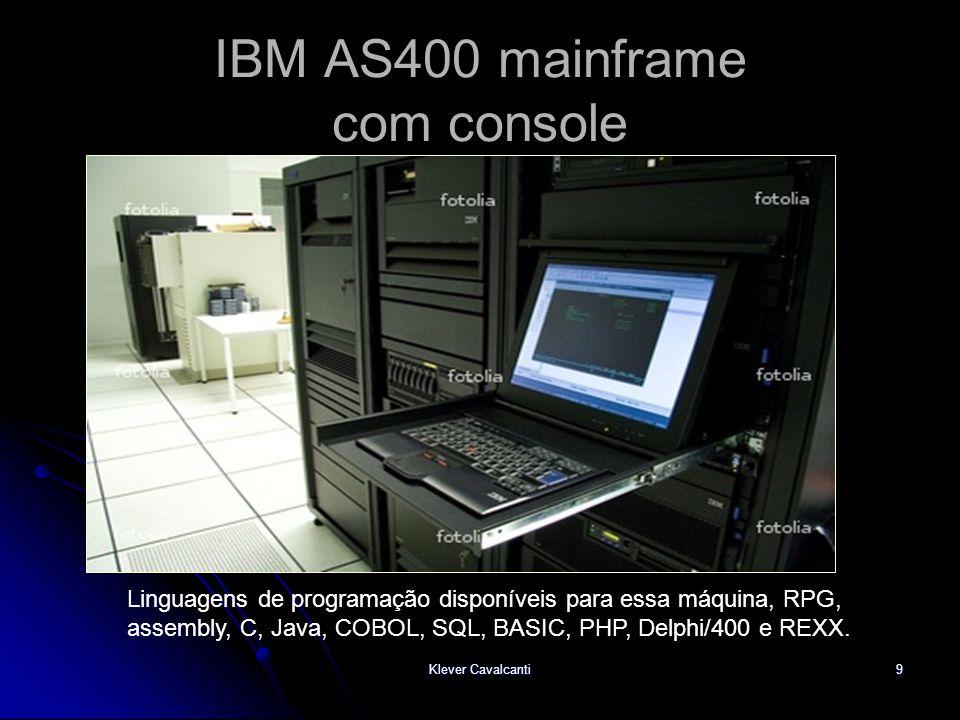 9 IBM AS400 mainframe com console Linguagens de programação disponíveis para essa máquina, RPG, assembly, C, Java, COBOL, SQL, BASIC, PHP, Delphi/400