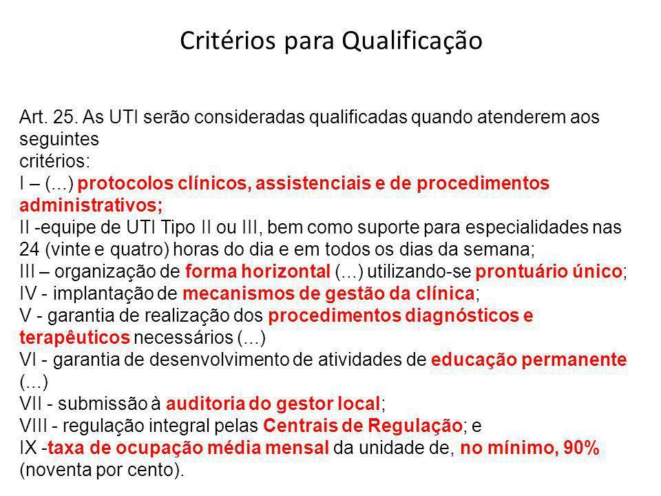 Art. 25. As UTI serão consideradas qualificadas quando atenderem aos seguintes critérios: I – (...) protocolos clínicos, assistenciais e de procedimen