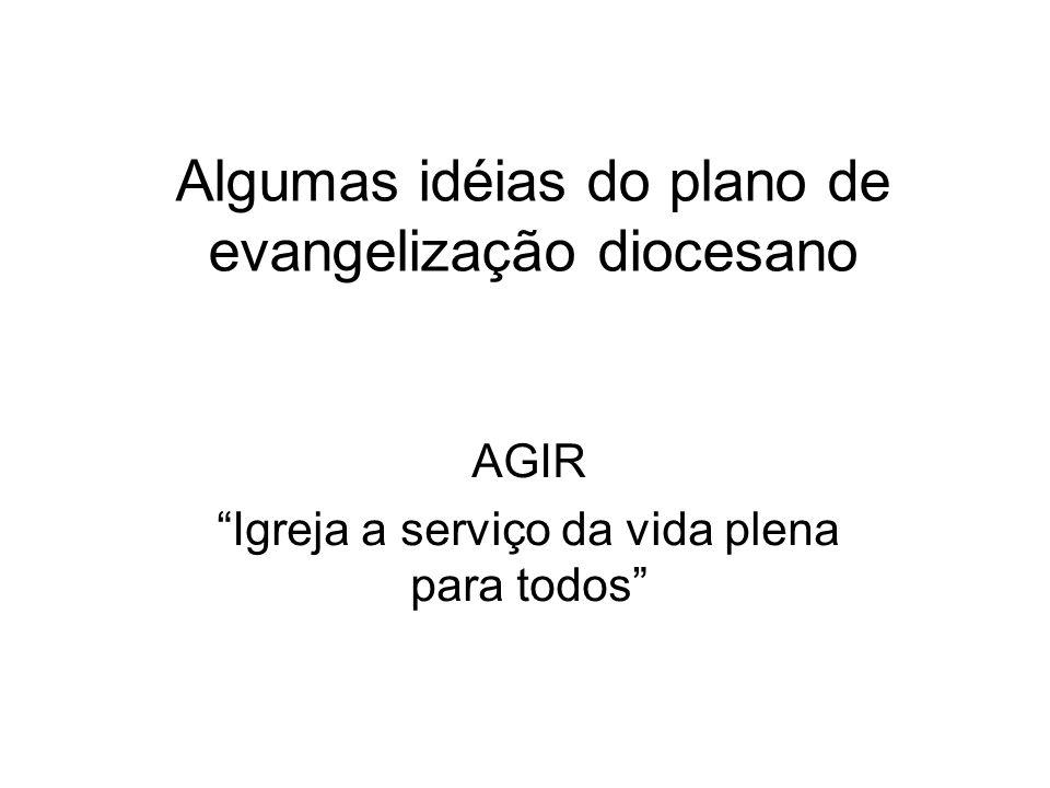 Algumas idéias do plano de evangelização diocesano AGIR Igreja a serviço da vida plena para todos