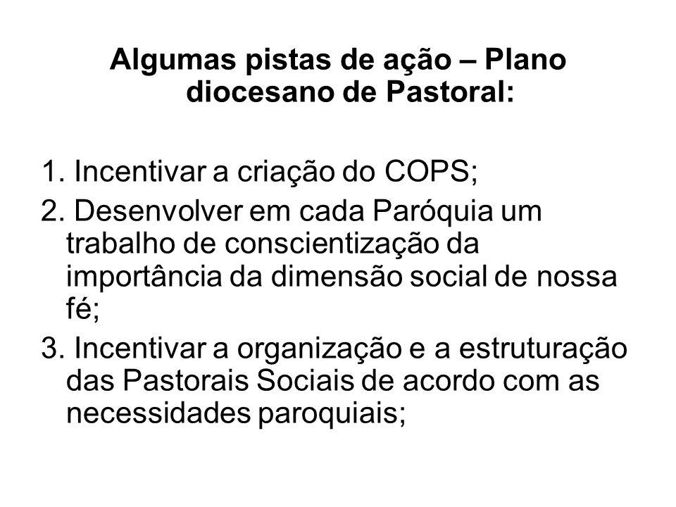 Algumas pistas de ação – Plano diocesano de Pastoral: 1.