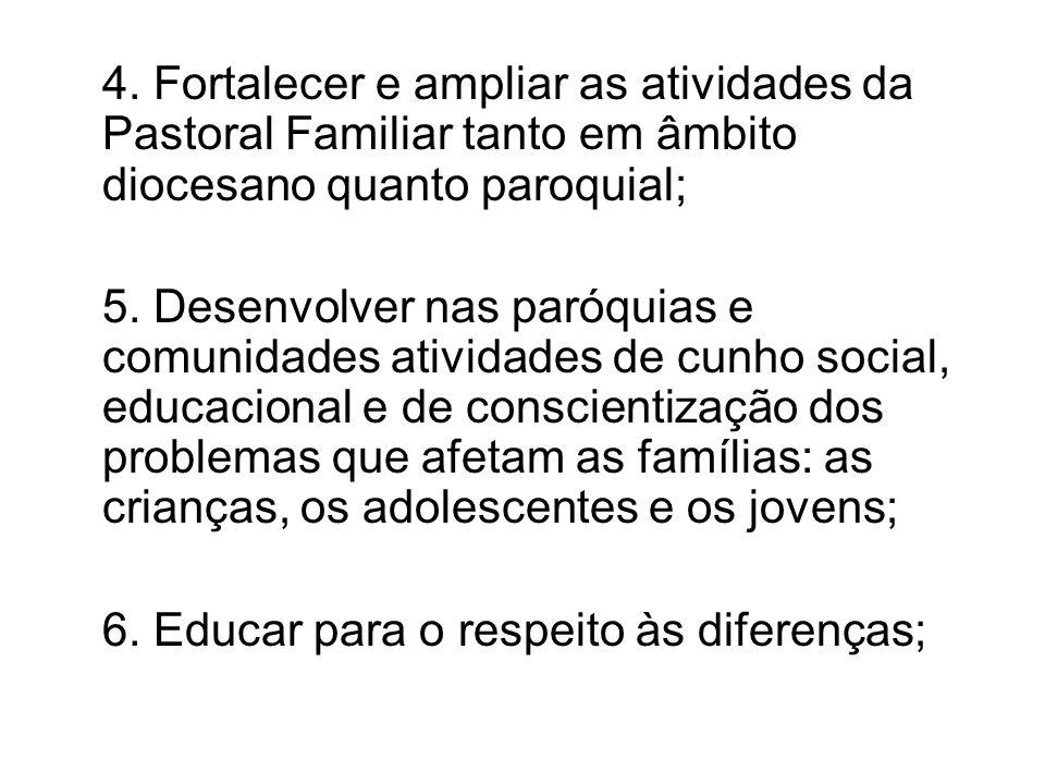 4. Fortalecer e ampliar as atividades da Pastoral Familiar tanto em âmbito diocesano quanto paroquial; 5. Desenvolver nas paróquias e comunidades ativ