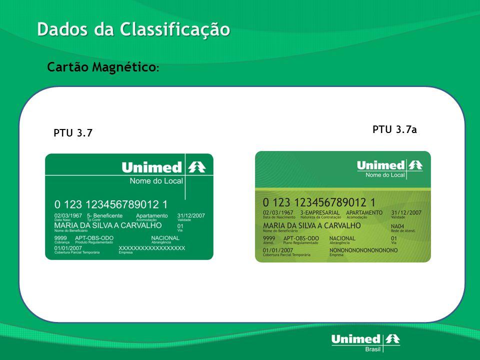 Dados da Classificação PTU 3.7a PTU 3.7 Cartão Magnético :
